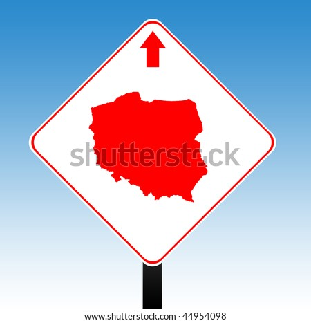 Poland road sign with directional arrow, blue sky background. - stock photo