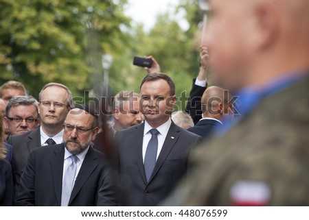 Poland's President Andrzej Duda speaks during the ceremony to commemorate the 70th anniversary of a 1946 massacre of Jews in Kielce. Kielce, Poland - July 4, 2016