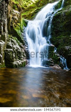 Poland. The Karkonosze National Park (biosphere reserve) - Kamienczyk waterfall  - stock photo