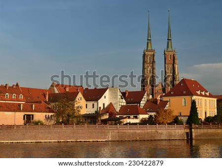 Poland . View on the old city in Wroclaw. Ostrow Tumski  - stock photo