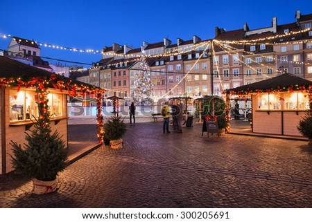 Poland, Warsaw, Old Town Square by night, Christmas decoration and illumination, historic city centre - stock photo