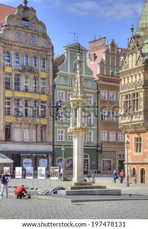 POLAND, WROCLAW - May 08.2014: Pillory on an square in the historical center of ancient city