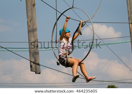 Poland . 2016 Year .August .05 . Childrens on the rope  park in Bielsko Biala