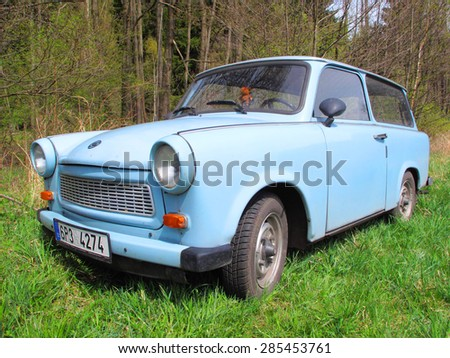 POLANKA, CZECH REPUBLIC - APRIL 25, 2015: Trabant 601 Universal, a vintage car abandoned in nature. Famous car was produced in communist East Germany in years 1963-1991. - stock photo
