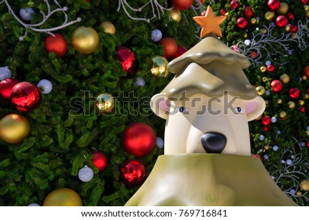 Polar Bear Christmas fiberglass mascot with Christmas tree and decorations in the background