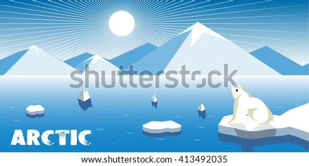 Polar bear on an ice floe, polar landscape. - stock photo