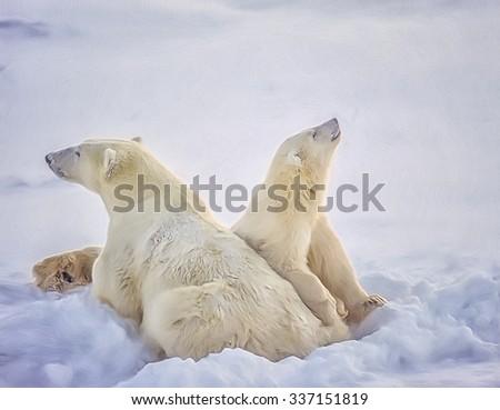 Polar bear on Arctic snow with her cub,digital oil painting - stock photo