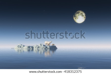polar bear on the iceberg concept idea for global warming poster 3d rendering  - stock photo