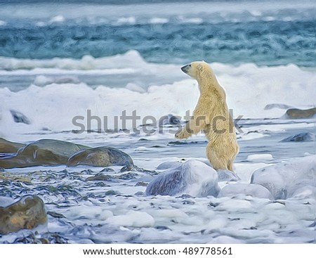 Polar bear standing on hind legs at waters edge,digital oil painting
