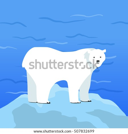 Polar bear Ursus maritimus on piece of ice with Arctic Ocean on background. Arctic wild animal. Carnivorous bear at Arctic Circle. Wildlife of North Pole. White bear.  illustration in flat style