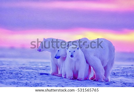 Polar bear with cubs against Canadian Arctic sunset,digital oil painting