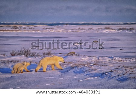 Polar bear with her cubs walking across Canadian Arctic tundra on shore of Hudson Bay,photo art