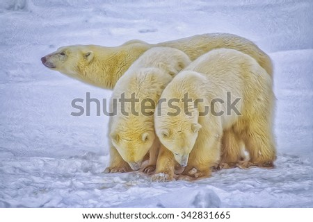 Polar bear with her yearling cubs in Canadian Arctic,digital oil painting - stock photo