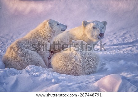 Polar bears, one cub nursing. digital oil painting - stock photo