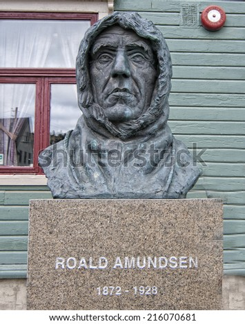 Polar Explorer Roald Amundsen Statue in Tromso, Norway - stock photo