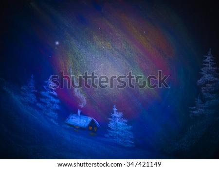 polar night and snow hut - stock photo