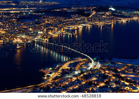 Polar night in Tromso, Norway - stock photo
