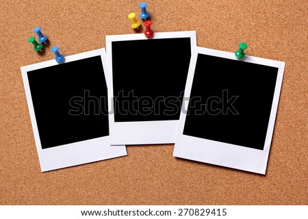 Polaroid frame photo print row, pushpin, cork background.  Copy space - stock photo