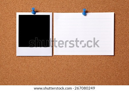 Polaroid photo print, index card, cork background - stock photo