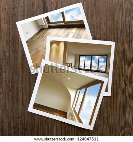 Polaroid-Wooden Floor and windows Boards - stock photo