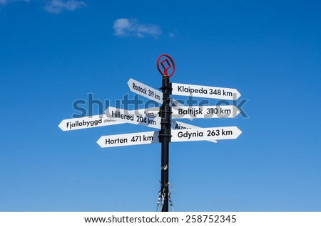 Pole with signs showing the locations in Europe and distance to get there.