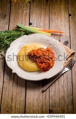 polenta with leek and tomato sauce - stock photo