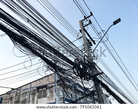 Poles of electricity  and wire cable