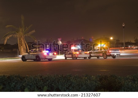 Police Activity at Night - stock photo