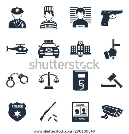 Police and criminality  icon set