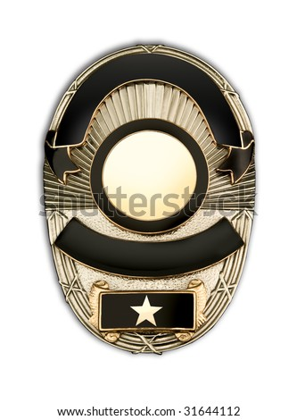 Police badge blank template with room to add your own information - stock photo