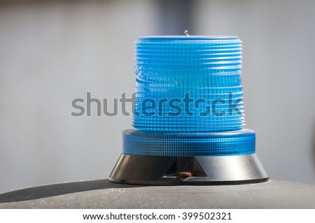 Police blue beacon light - accident, crime, law and order stock image. - stock photo