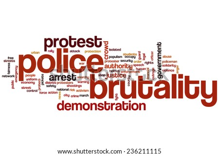 Police brutality word cloud concept - stock photo