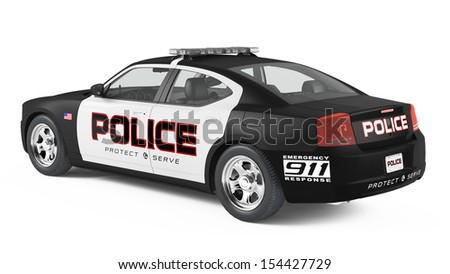 Police car back. Sport and modern style. - stock photo