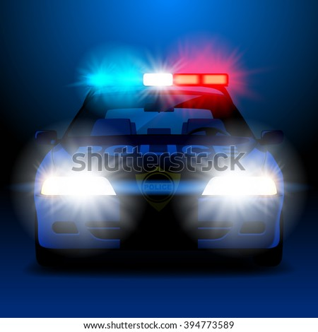 Police car in night with lights in frontal view - stock photo