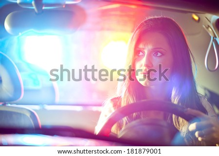 Police car in pursuit - stock photo