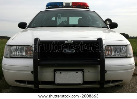 Police car-lights off - stock photo