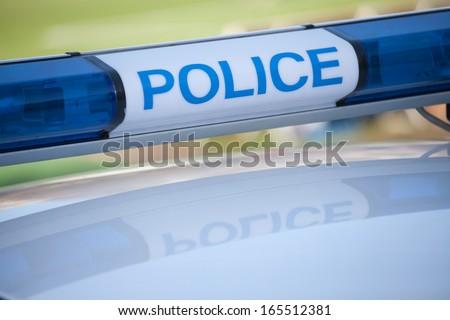 police car sign. siren light - stock photo