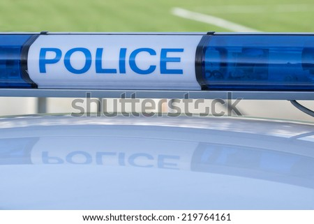 police car sign. siren light - stock photo