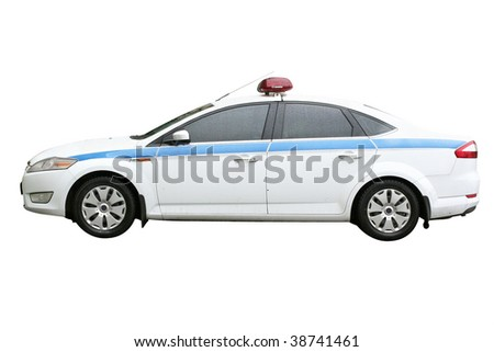 Police car under the white background - stock photo
