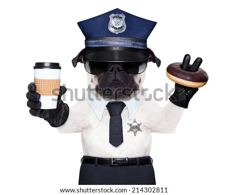 POLICE DOG ON DUTY WITH coffee to go and a donut or Doughnut - stock photo
