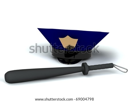 police hat and club 3d rendered for web - stock photo