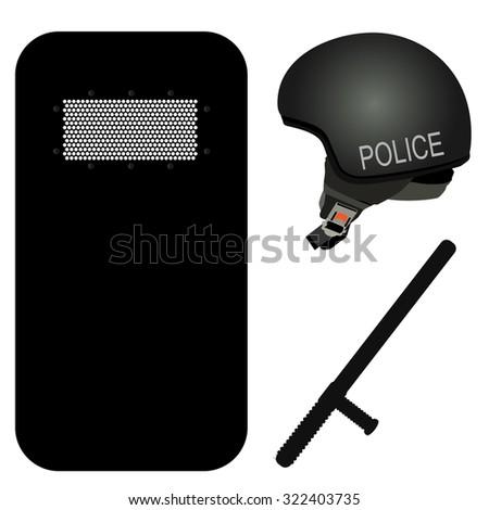 Black Shield Police Police Helmet Stick And Black