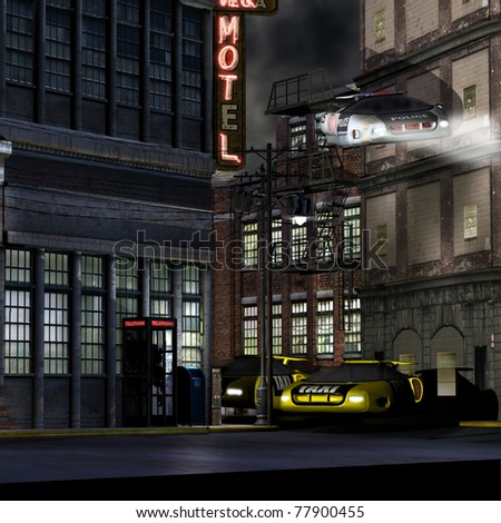 Police hover car, fly's down a deserted street . Two stories below  two taxi cabs hover parked outside a run down motel building. Futuristic science fiction illustration. - stock photo