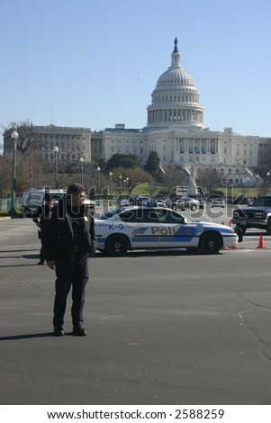 Police in front of Capitol at anti war rally on the National Mall, Washington, DC, Saturday, January 27, 2007. - stock photo