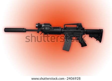 Police Issued AK47 Assault Rifle With Red Glow - stock photo