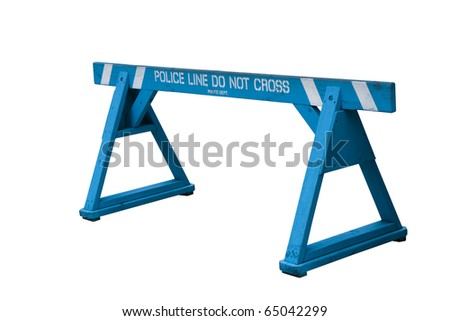 Police line do not cross. Police Barrier. - stock photo