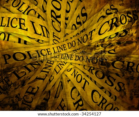Police line do not cross: tape collection - stock photo