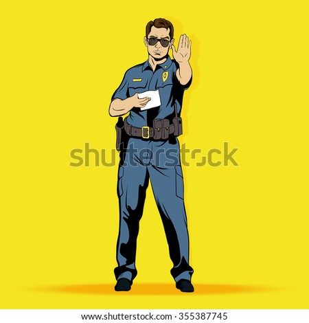 Police officer comics character. Police officer comics art. Police officer comics web. Police officer concept. Police officer concept art. Police officer concept web. Police officer illustration - stock photo