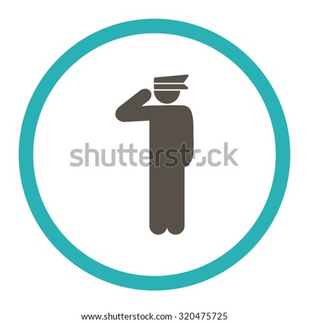 Police officer glyph icon. This rounded flat symbol is drawn with grey and cyan colors on a white background.
