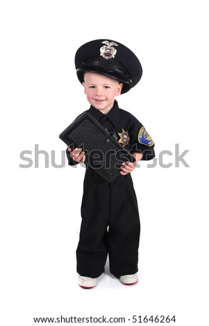 Police Officer Holding a Ticket Book on White Background - stock photo